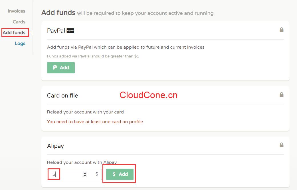 CloudCone支付宝充值
