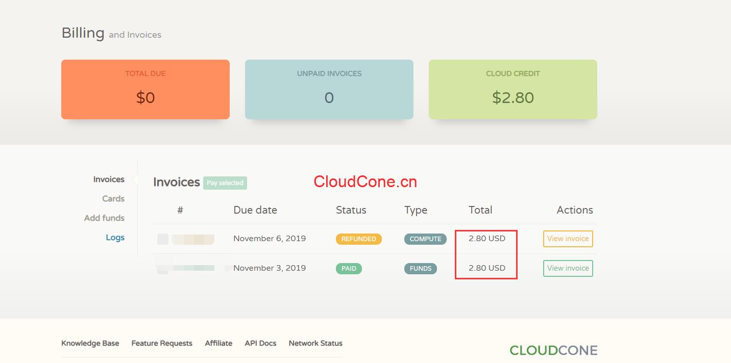 CloudCone摧毁实例全额退款