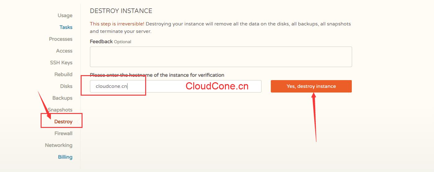 CloudCone摧毁实例