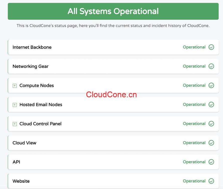 CloudCone状态更新页面
